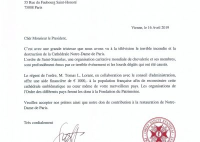 Brief an Präsident Macron - Donation by the Regent of the Order of St. Stanislas, Tomás L.Lorent
